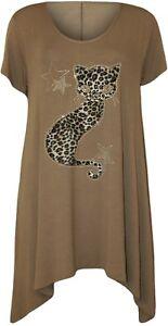 Plus-Size-Ladies-Short-Sleeve-Hanky-Hem-Diamante-Detail-Leopard-Cat-T-Shirt-Top