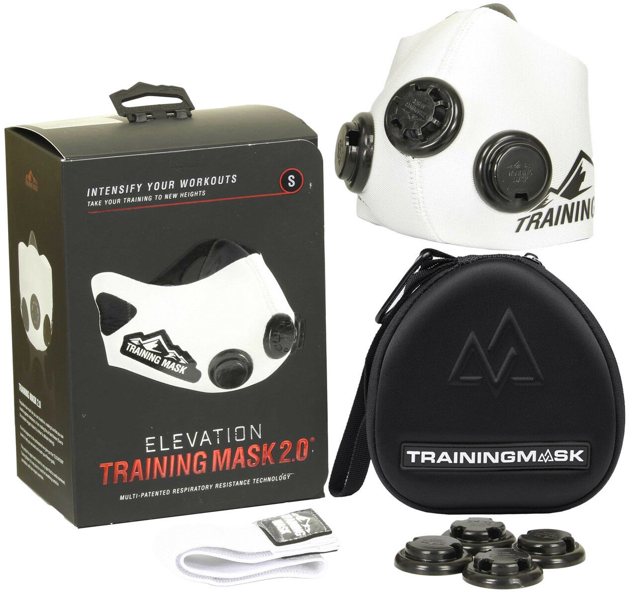 Training Mask 2.0 Whiteout Edition + CASE - All Sizes - Increase Lung Strength