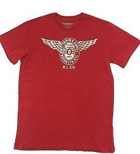 $95 RALPH LAUREN Men RED WHITE DENIM & SUPPLY WINGS CREW NECK T SHIRT TEE SIZE L