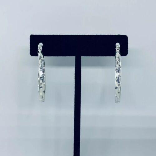 """925 Sterling Silver Diamond Cut Boucles d/'oreilles Créoles 1.5/"""" Pouces"""
