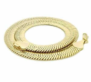 Unisex-Herringbone-Chain-14K-Gold-Plated-14mm-20-034-24-034-30-034-Necklace