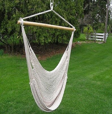 Extra Large 2P White Cotton Rope Hammock Set  15 foot