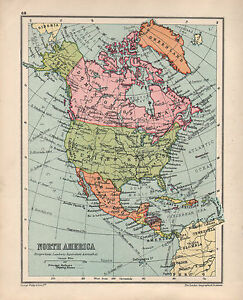 1934 MAP NORTH AMERICA CANADA UNITED STATES MEXICO CUBA JAMAICA
