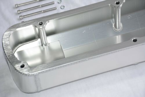 Ford 289 302 351W Fabricated Aluminum Tall Baffled Valve Covers w// Holes SBF V8
