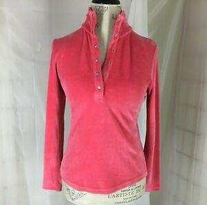 Talbots-Petite-Womens-Pullover-Pink-Velour-Top-Mock-Turtleneck