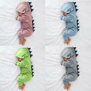 Newborn Baby Boy Girl Kids Dinosaur Hooded Romper Jumpsuit Clothes Outfit Winter