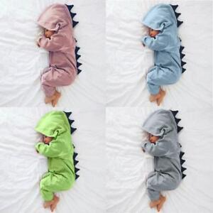9cacb9cb3c4 Image is loading Newborn-Infant-Baby-Boys-Girls-Dinosaur-Hooded-Romper-