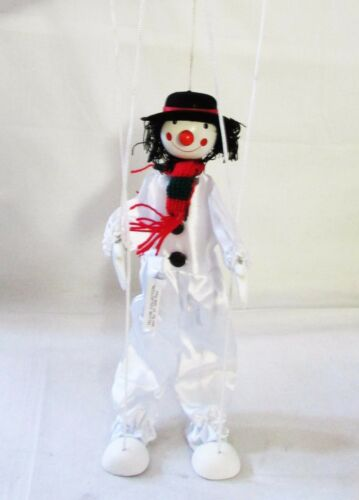 """Vintage 16/"""" White Snowman Wooden String Puppet Marionette By Tellon Collection"""