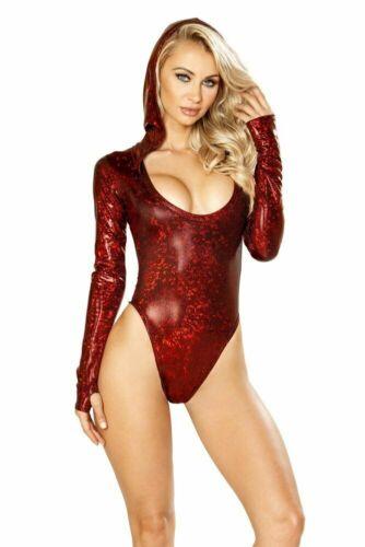 Broken Red Hooded Bodysuit