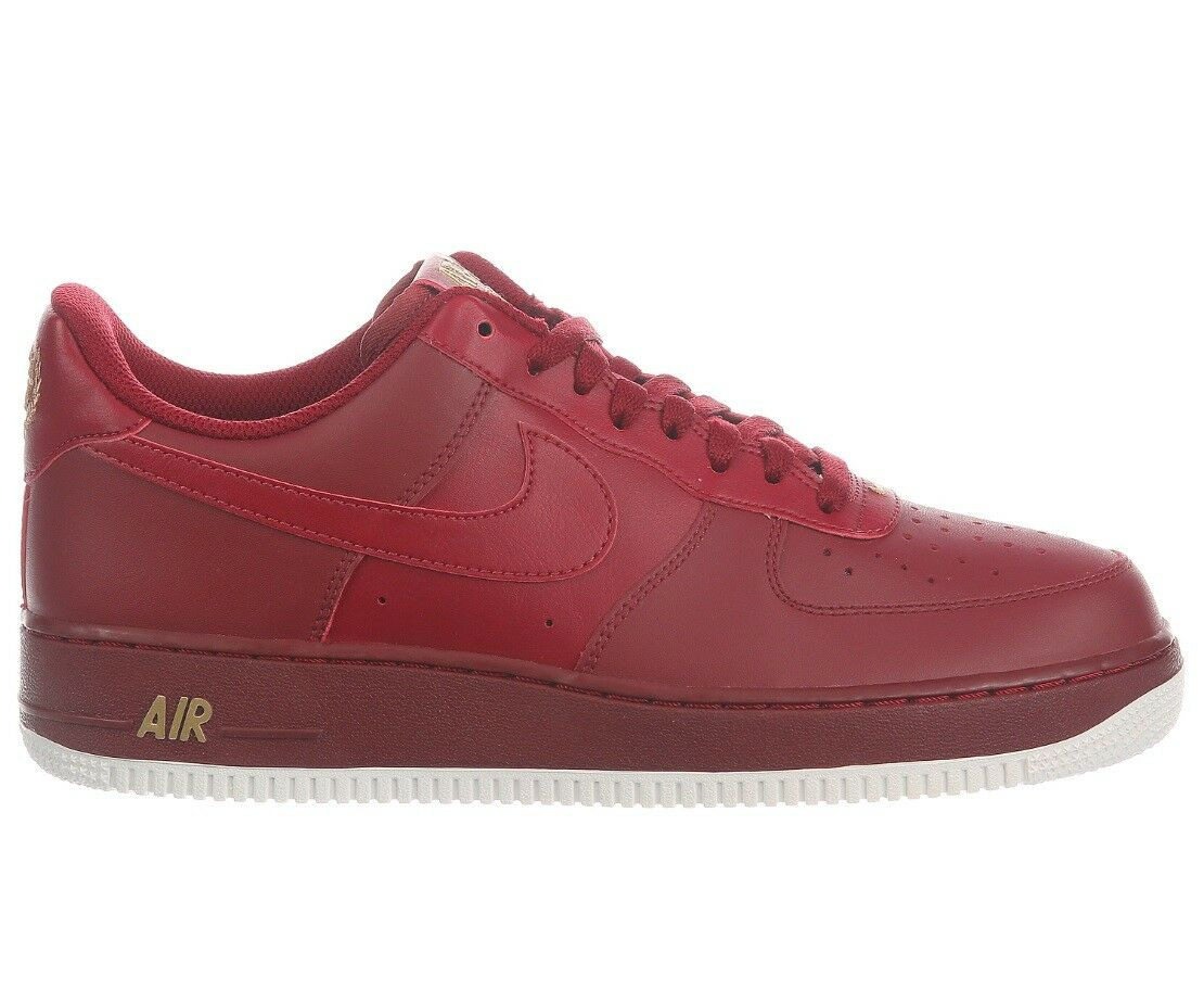 Nike Air Force 1 '07 Mens AA4083-603 Team Red White Gold Leather Shoes Comfortable