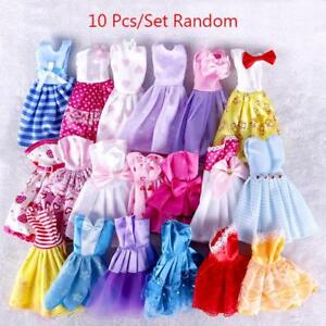 10 Pcs Doll Dress Wedding Party Mini Gown Clothes For  Doll  Random