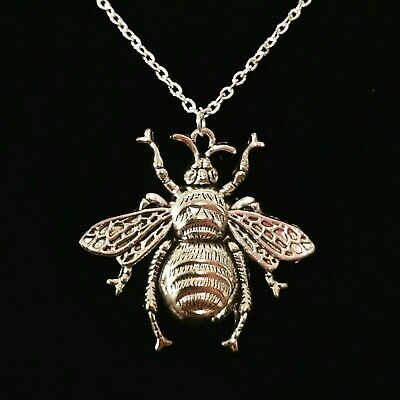 Silver Bumble Bee Pendant NecklaceAnimal Insects Themed Fashion Jewellery