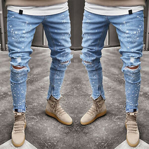Men-Skinny-Jeans-Trousers-Biker-Destroyed-Frayed-Stretch-Denim-Ripped-Slim-Pants