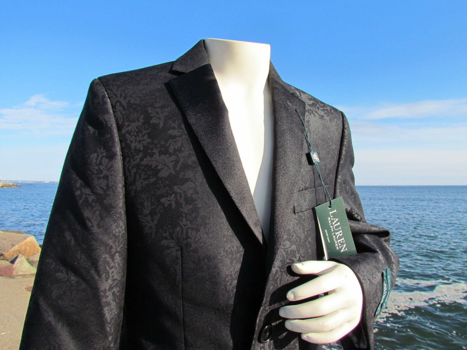 3388f6622 18 R Ralph Lauren Boys Evening Jacket Blazer Coat Black Brocade Formal Tux  for sale online | eBay