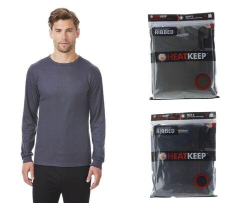 Select size Heat Keep Men/'s Ribbed Long Sleeve Crew Neck Thermal Base Shirt
