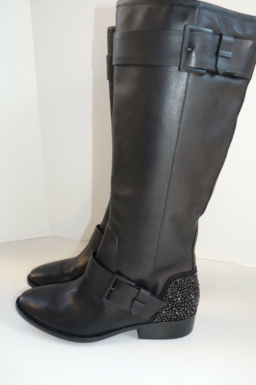 $695 BRIAN ATWOOD Tall Knee Riding Dita Boot Size 10 Black Crystal Heel Flat