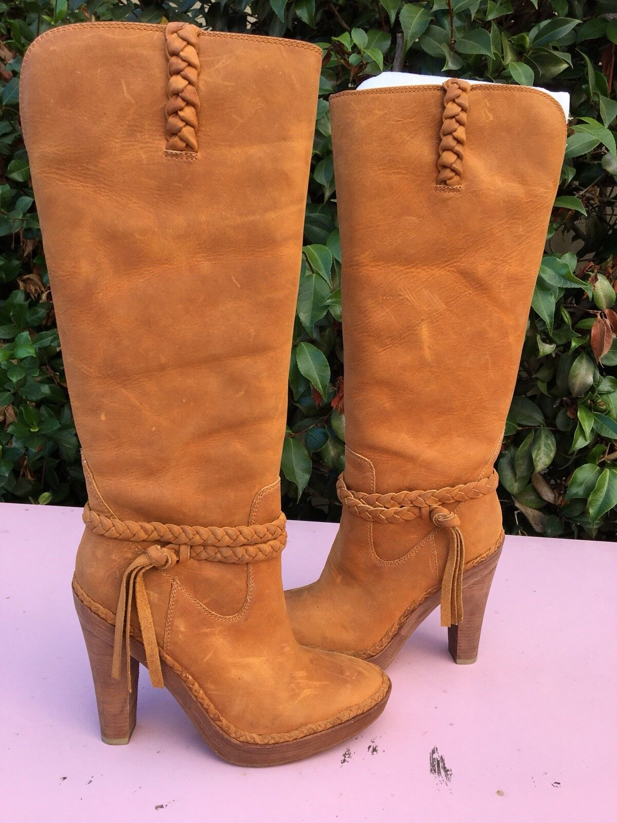 EUC. Nike Air Leather Boots, Series G, Tan, High Heel, Size 7.