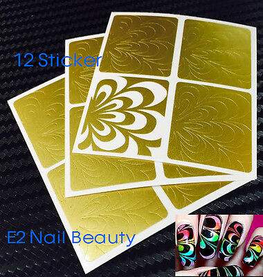 12 x Water Marble Nail Art Stencils Vinyl Decal Sticker FREE SHIPPING