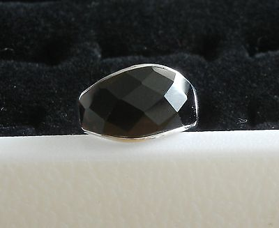 Rare Genuine Black Opal Set In Sterling Silver Size 7 Ring #6