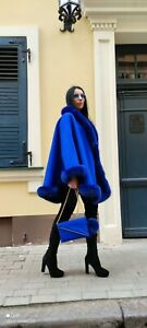 NEW BEAUTIFUL CASHMERE CAPE WITH ARCTIC FOX FUR TRIM & Bag with keyring