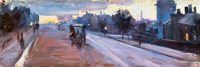 Hoddle St 10pm by Arthur Streeton A1 High Quality Art Print