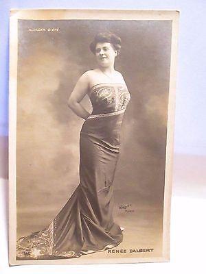 1905 FRENCH ARTIST SIGNED REAL PHOTO RISQUE POSTCARD SHOWGIRL RENEE DALBERT UNUS