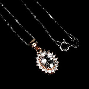 Oval Pink Morganite 8x6mm Cz Rose Gold Plate 925 Sterling Silver Necklace 18inch