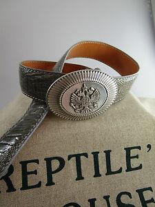 originale con Rh del rettile Cintura a Rh4 Grigio Cintura di struzzo chiusura UMVpSzq
