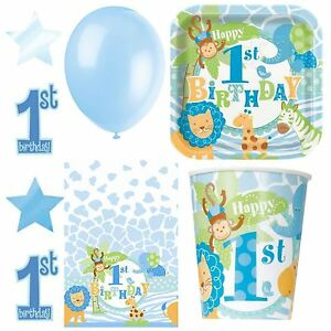 1st First Birthday Safari Jungle Boys Party Tableware Blue Animal