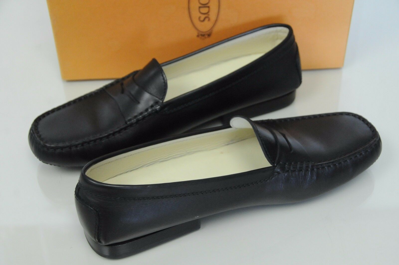 New TOD'S Flats Driving Moccasins shoes Flats  Black Leather Leather Leather 10 cd814c