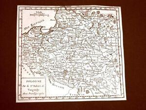 Pologne-Polonia-Settecentina-Carta-geografica-mappa-del-1750-Robert-De-Vaugondy