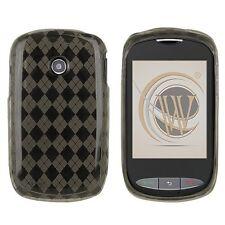 For TracFone Net10 LG 800g TPU CANDY Flexi Gel Skin Case Phone Cover Smoke Plaid