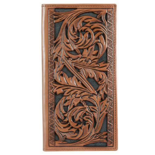 HOOey Western Mens Wallet Rodeo Leather Floral Tooled 1829137W2