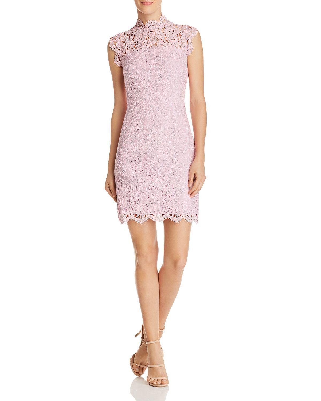 AQUA damen Rosa HALTER SCALLOPED- LACE SLEEVELESS SHEATH DRESS Größe S