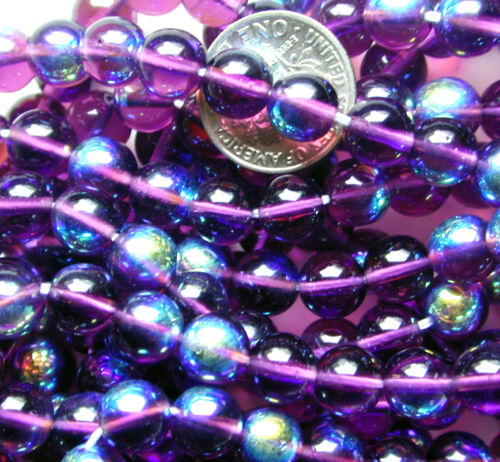 150 Vintage Purple with Shiny AB Iridescent Accent Round Glass 7mm Beads Spacers