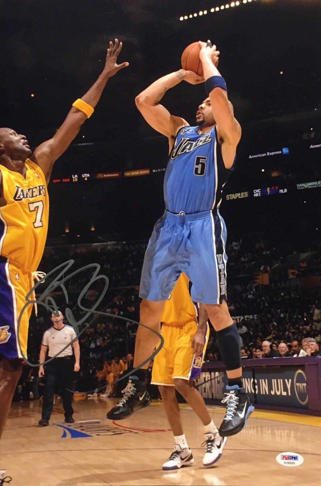 Carlos Boozer Signed Utah Jazz Basketball 12x18 Photo PSA AC60569