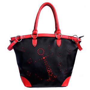 Details zu Banned Rockabilly Vintage Shopper Tasche Handtasche Anchor Punch Anker Rot