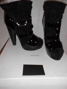 in pelle vernice e £ Stivali Rrp Gianni Eu41 Versace 999 scamosciata nera x7tFWRw