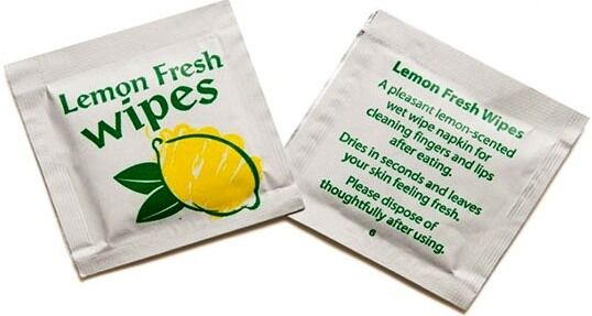 50 LEMON FRESH WET WIPES INDIVIDUALLY WRAPPED NAPKIN BBQ TRAVEL TAKEAWAY WIPE