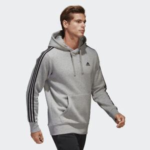 Detalles de Adidas Hombre Sudadera con Capucha Jersey Atletismo 3 Rayas Entrenamiento Gris