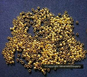 500-Crimps-yellow-gold-plated-2x1-5mm-round-crimp-beads-bead-findings-FPS097B