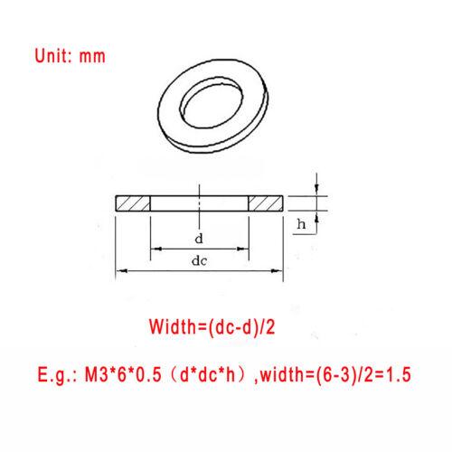 M2 M3 M4 M5 M6 M8 M10 M12 M16 M20 Clear Nylon Plain Washers Fit Bolts /& Screws
