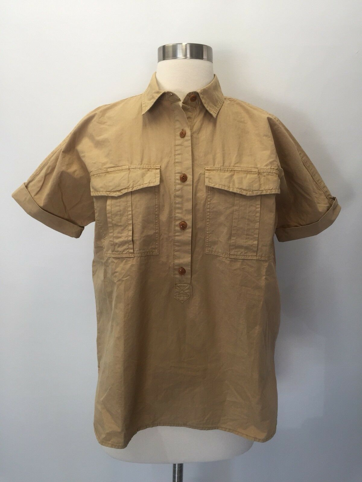 New J Crew Garment-Dyed Utility Popover Shirt Top Sz 0 G5196