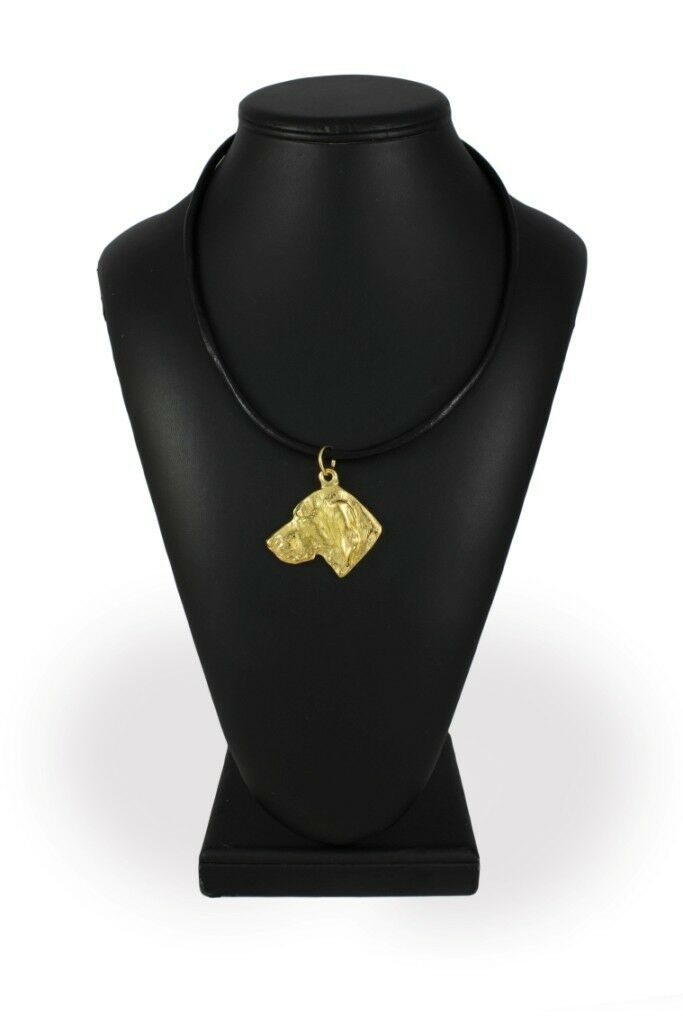 Weimaraner type 2 - - - Gold coverot necklace with dog high quality Art Dog 095049