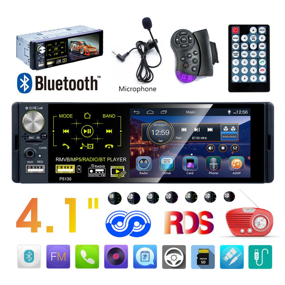 autoradio: 4.1″ 1 Din Autoradio Touch Screen AM/RDS/FM TF USB AUX Bluetooth MP5+ Microfono