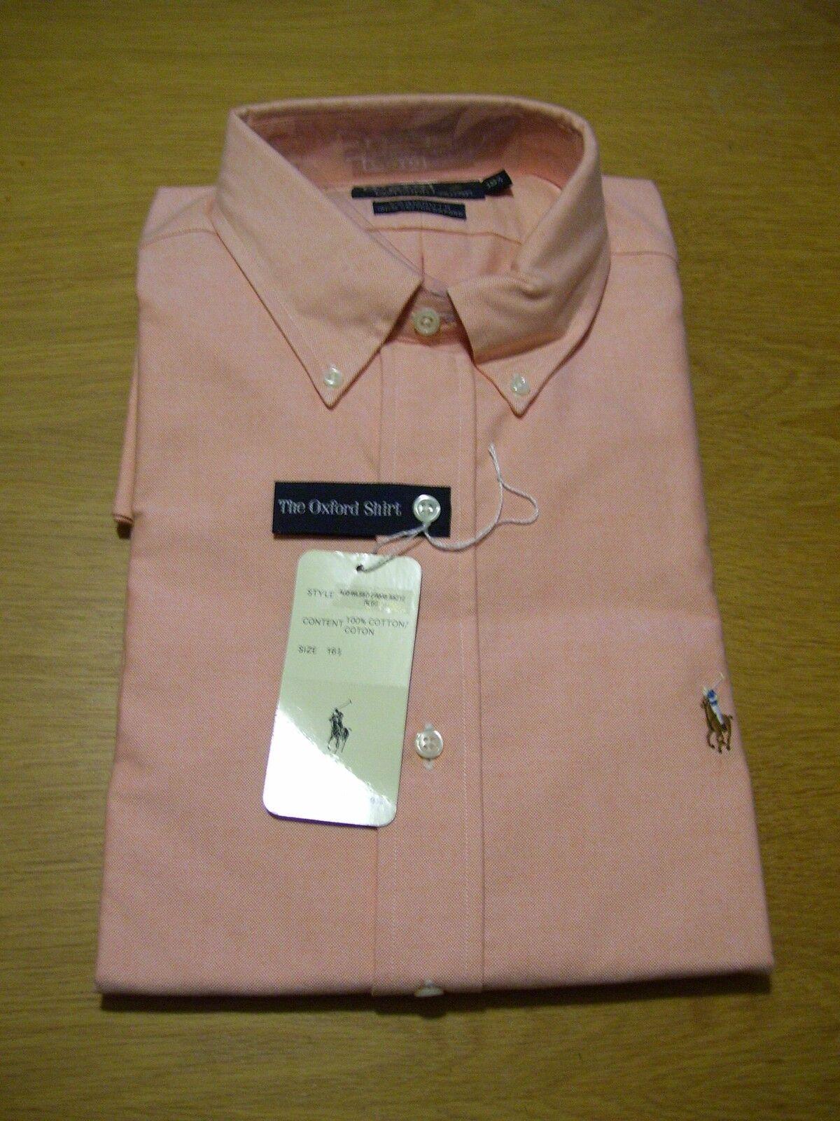 Polo by Ralph Lauren Hemd Oxford Langarm Lachs Apricot Gr L 16 1/2  neu