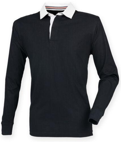 FRONT ROW Homme Premium manches longues Slim Fit Rugby Shirt traditionnel Collier nouveau
