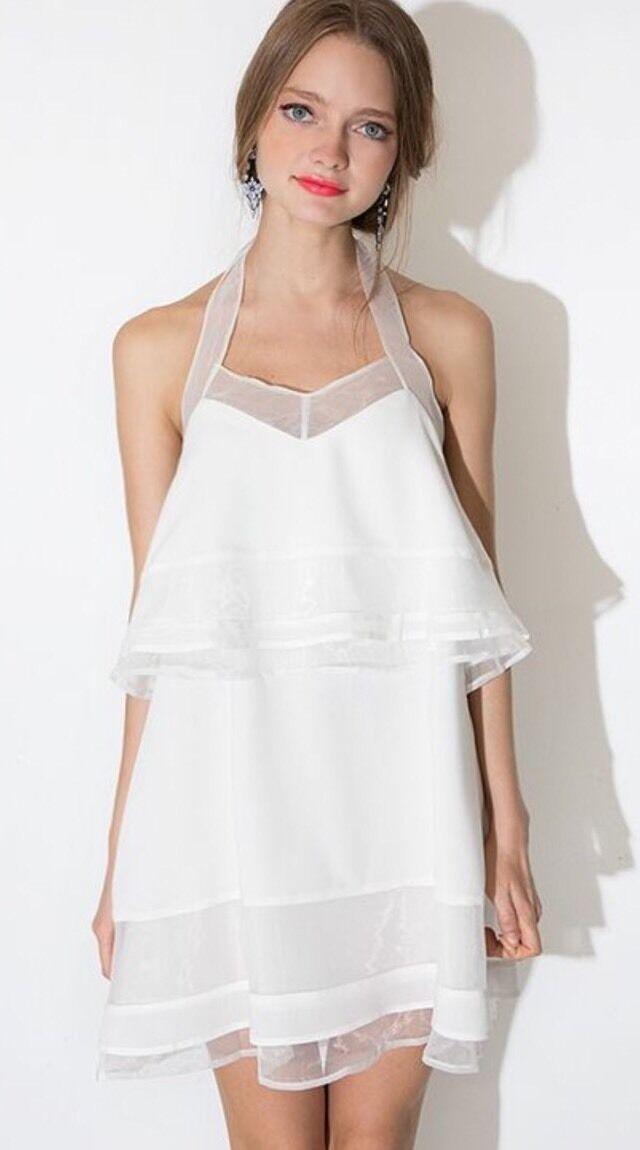 J.O.A White Organza Tiered Halter Wedding Bachelorette Dress M White