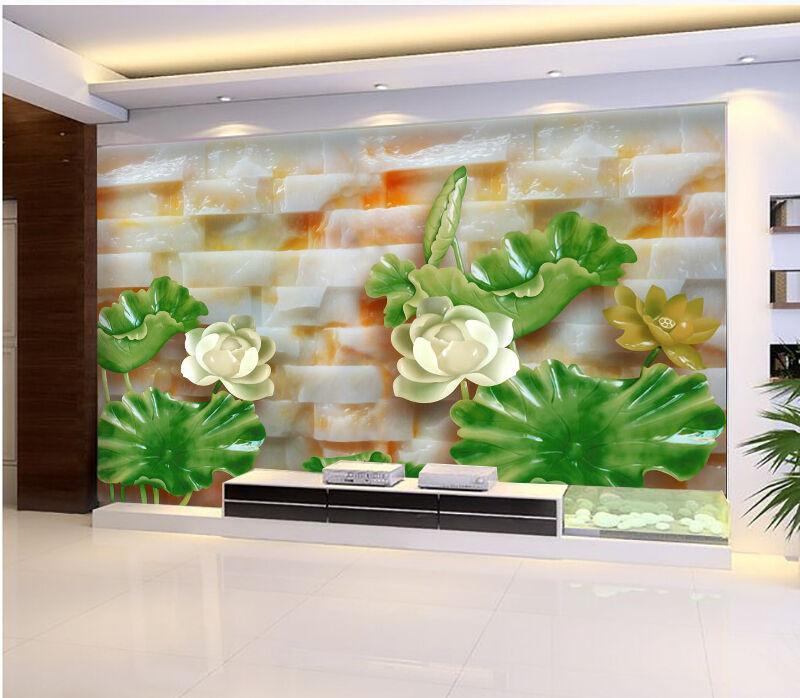 3D Grün Lotus Leaf Stone 7193 Wall Paper Wall Print Decal Wall AJ WALLPAPER CA