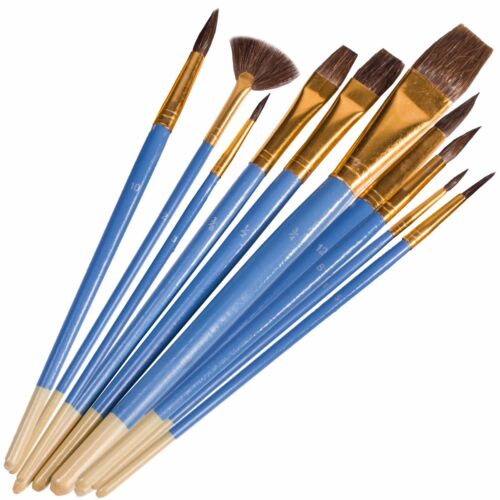 ARTIST PAINT BRUSH SET Nylon//Natural Small-Large Fine Point Flat Fan Tip Brushes